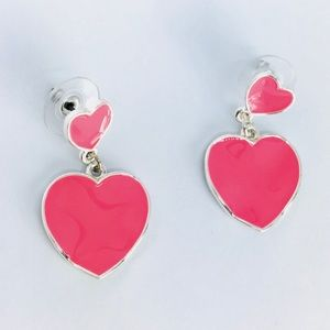 New! Pink Heart Dangle Earrings Silver